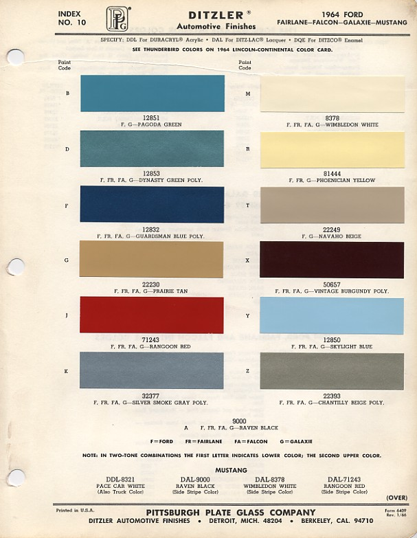 1964 1 2 ford mustang color chart with paint mixing codes maine mustang. Black Bedroom Furniture Sets. Home Design Ideas
