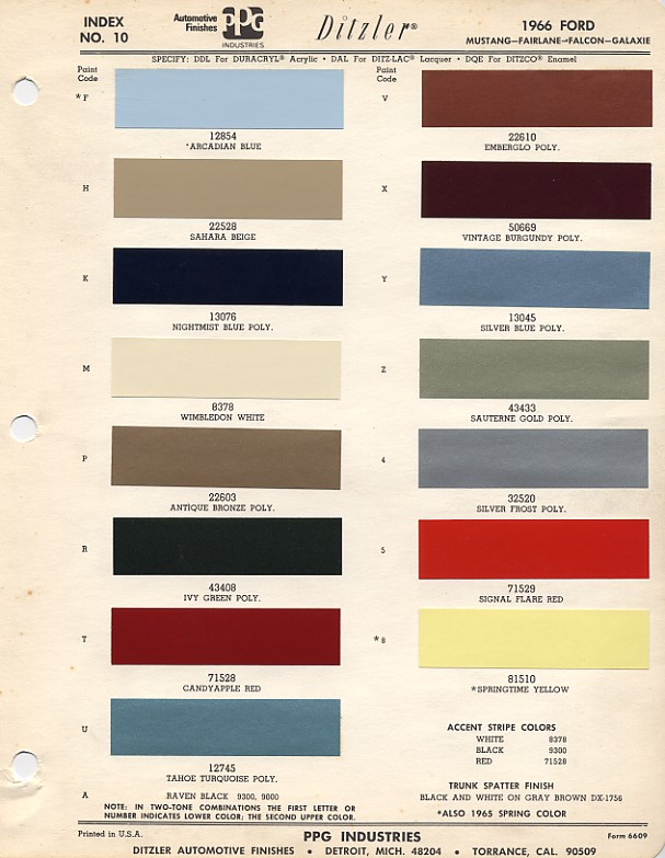 1966 ford mustang color chart with paint mixing codes