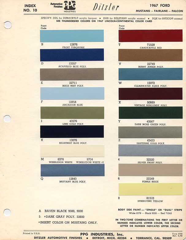 1967 ford mustang color chart with paint mixing codes. Black Bedroom Furniture Sets. Home Design Ideas