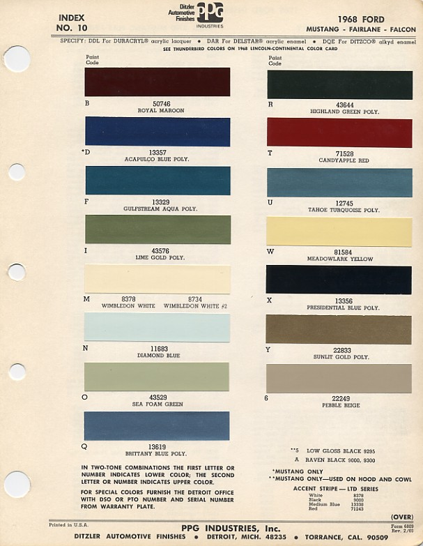 Ford Mustang Color Chart With Paint Mixing Codes Maine Mustang - 1969 camaro paint codes colors