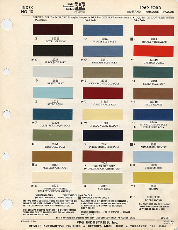 1969 ford mustang color chart with paint mixing codes | Maine Mustang