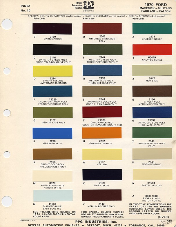 Mustang Paint Chip And Paint Mixing Codes Maine Mustang - 1969 camaro paint codes colors