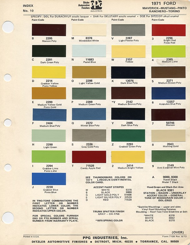 Mustang Paint Chip Chart With Mixing Codes Maine Mustang - 1969 camaro paint codes colors