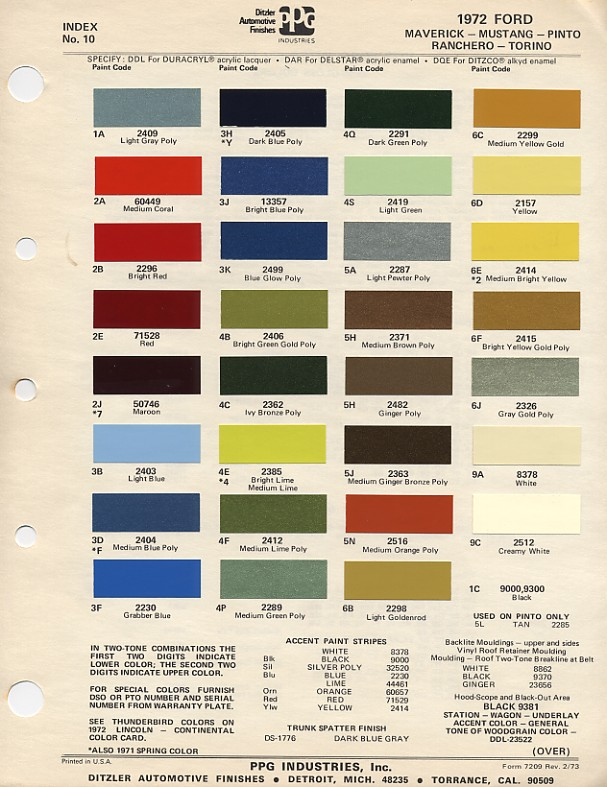 1972 Mustang Paint Chip Card With Paint Mixing Codes