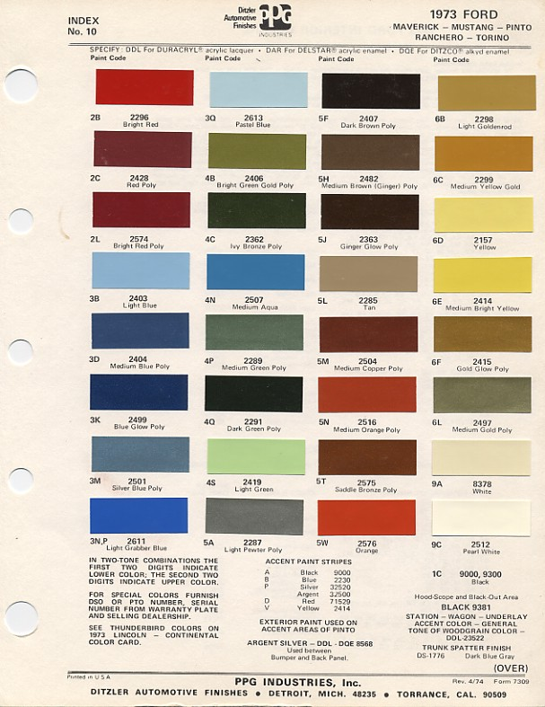 1973 mustang paint chip chart with mixing codes