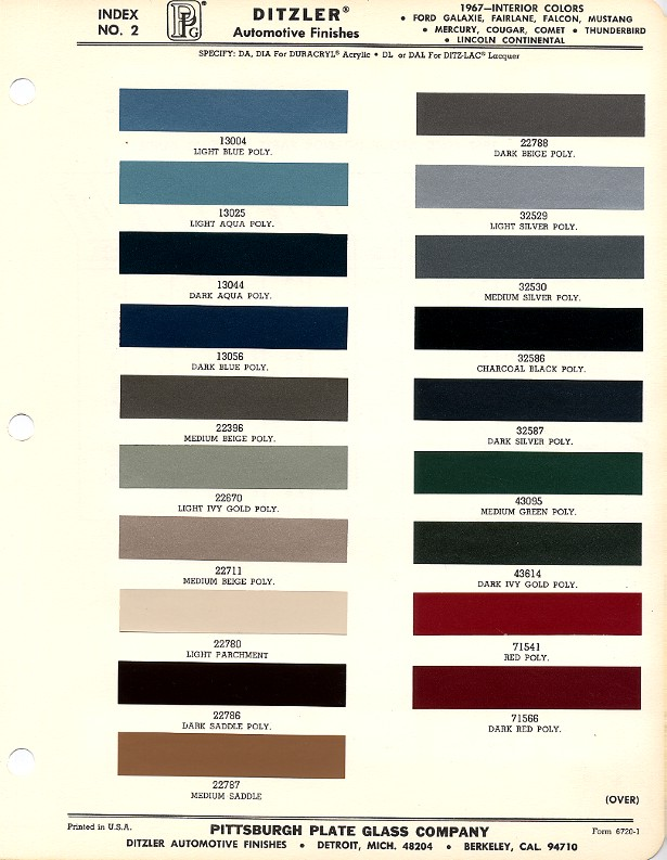 Mustang Interior Paint Chip Chart With Paint Codes Maine - 1969 camaro paint codes colors